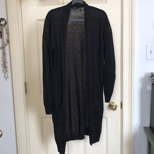 Theory black linen draped long cardigan sz M